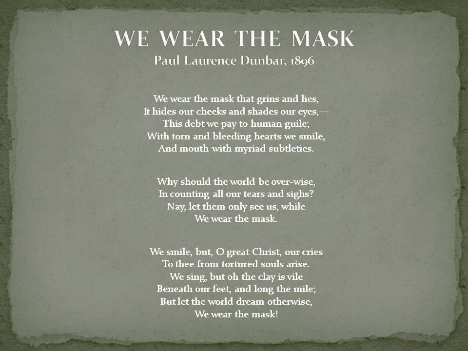 a literary analysis of the poem as mask